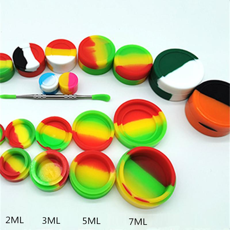 contenitore di silicio di grado alimentare vasetti dab titolare olio contenitori cera casella silicone antiaderente 2ML 3ML 5ML stoccaggio vaso strumento per vaporizzatore vape