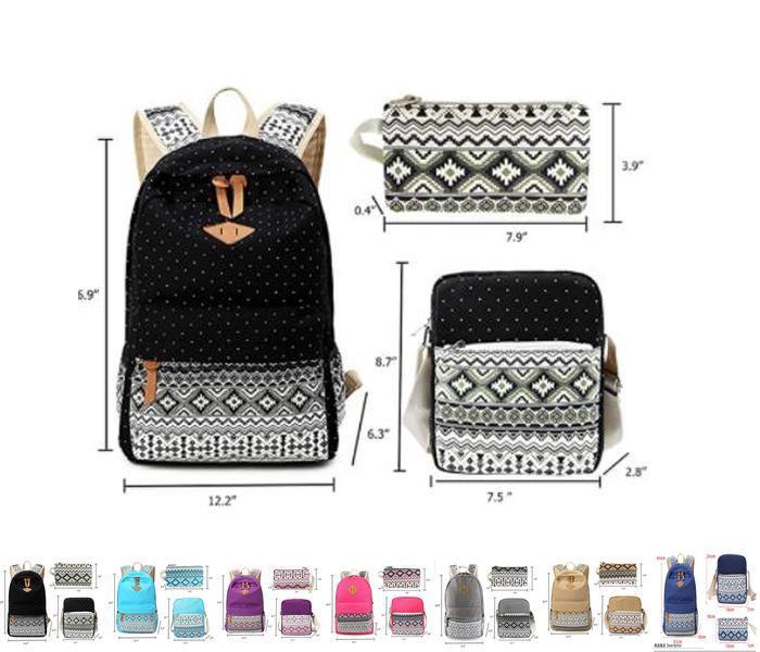 Leichter Rucksack Leinwand Mädchen und für Studenten Mint Blau 3pcs Taschen Pen Jungen Bookbag Laptop Schultasche Teen mit Koffer und Schulter iOVow