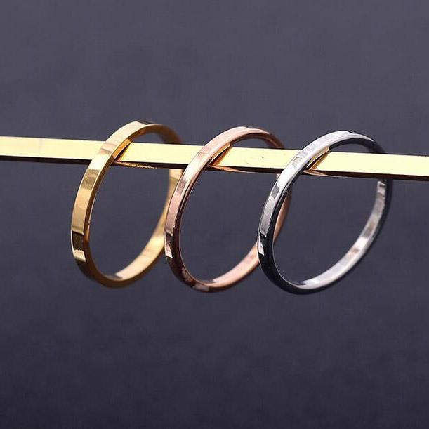 2MM Erkekler Kadınlar Moda Paslanmaz Çelik Takı Yüzük Çift Yüzük ölçüsü 5-12 Altın Gümüş Pembe Altın