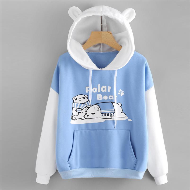 Sweatshirt Pullover Frauen 2020 Patchwork Katze Ohr Langarm Polar Bear CAP Drucken Känguru Hoodies Herbst Frühling moletom