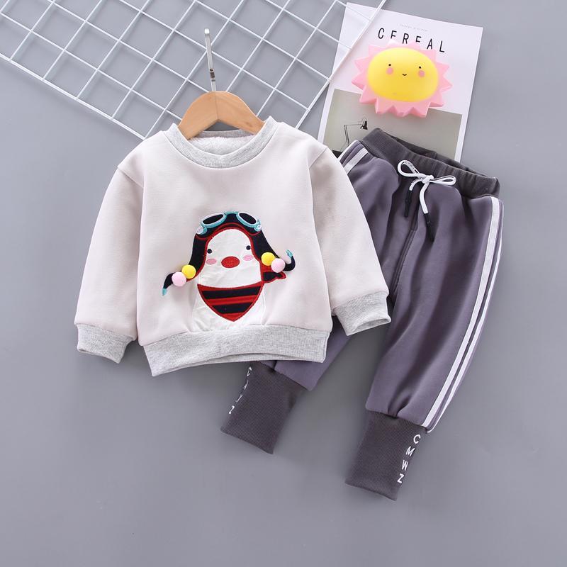 Kleinkind-Baby-Kleidung Mädchen Junge Kleidung Sets Winter-Outfit Sportanzüge O-Ansatz Warm Sweatshirt Tops verdicken Hosen Set