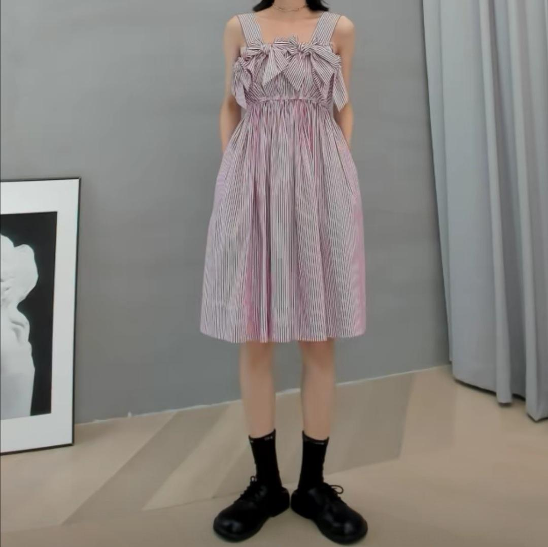 MONA de l'été New Age réduction jupe élégante minceur française robe taille haute jarretelle MONA rayé skirt2020 été New Age-reduci