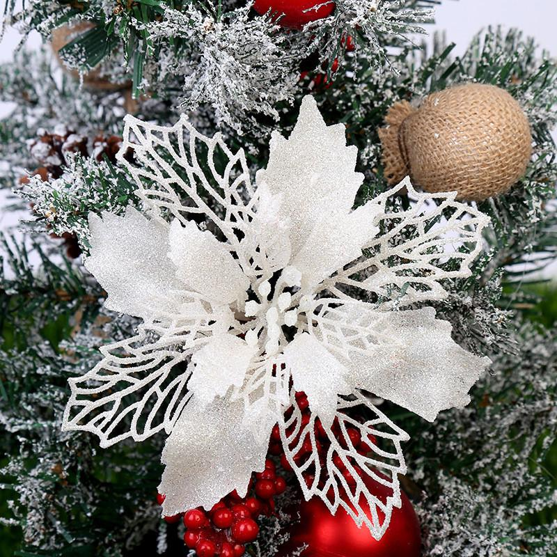 Artificial Natal Flores Glitter Falso Decorações de Natal Feliz Flor para Home 2020 Xmas Ornament presente do ano novo
