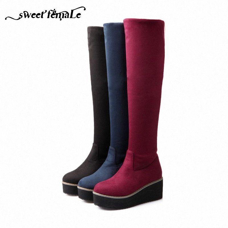 Foam Sole Nova moda Outono Inverno Big Tamanho das sapatas das mulheres antiderrapante confortáveis Flock longo trecho botas de plataforma sapatos Fly Botas S Xsi0 #