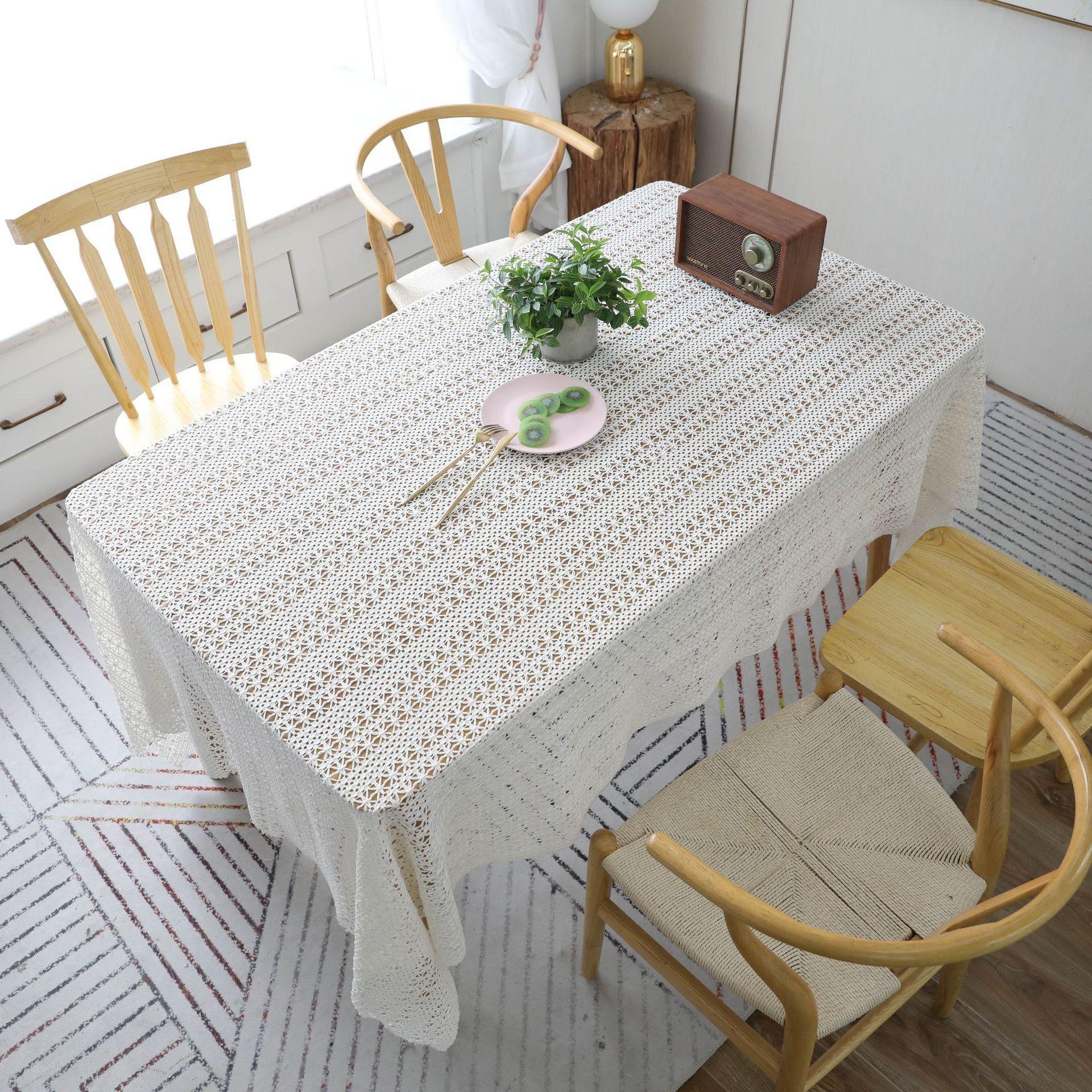 JH Lace Crochet Toalha de mesa de algodão tecido escavado Antependium New Piano toalha tampa tiro Props Lace pano