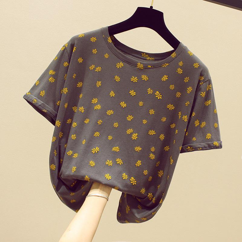 Manga curta T-shirt WOMEN'S Vestido Verão Vermelho Novo Estilo Impresso Base de cinzento na roupa solto T-shirt