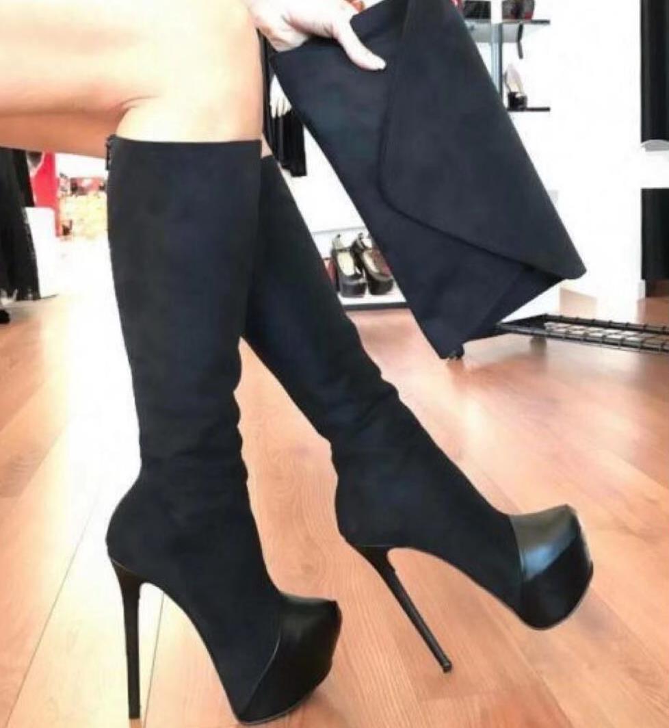 kutu kaliteli kadın uzun boylu diz yüksek çizmeler siyah süet patchwork platformu süper yüksek topuklu booties00225 ile