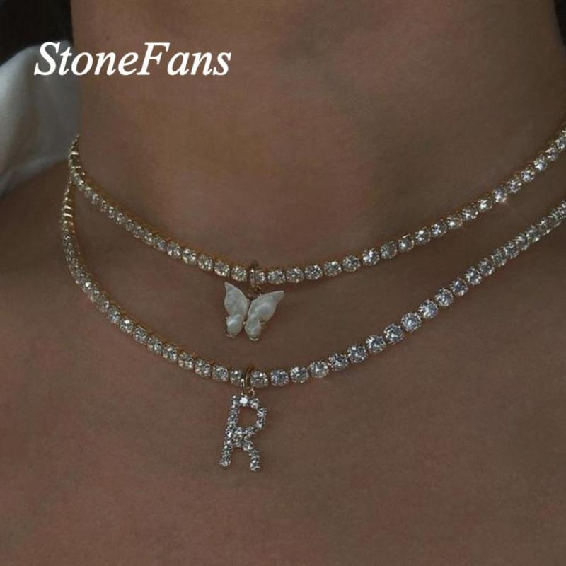 Stonefans Double Layer Choker Rhinestone Butterfly Letter Necklace for Women Statement Tennis Chain Pendant Necklace Jewelry