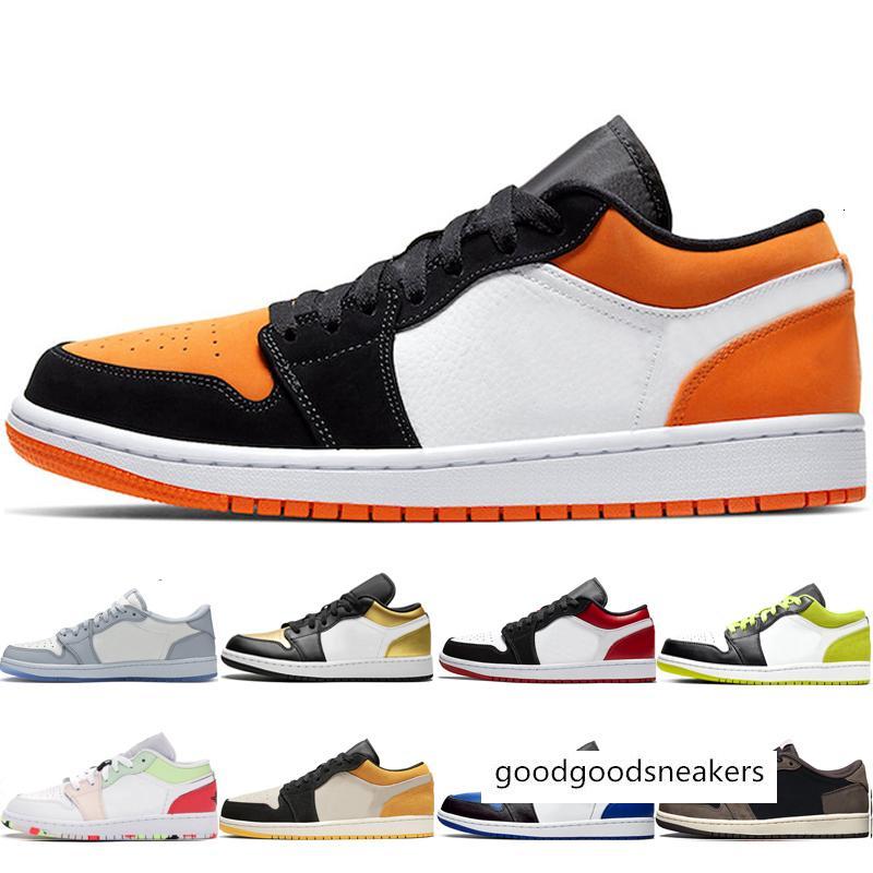 Baratos de basquete sapatos das mulheres dos homens baixos 1s 1 chaussures laranja azul Royal Preto Toe sneakers Ilha marinha da meia-noite Verde Magenta