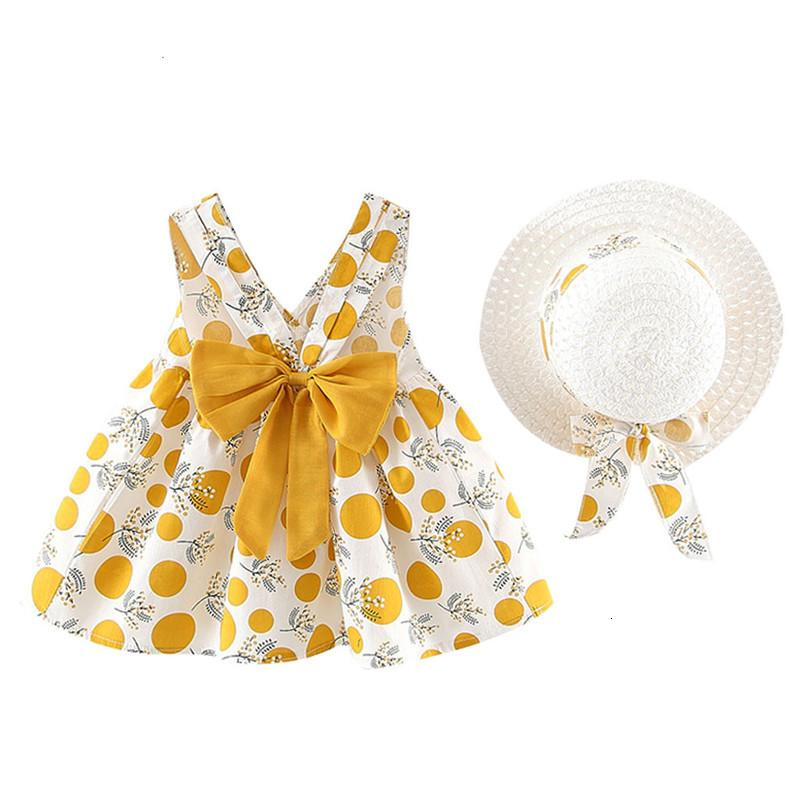 Toddler Girls Dresses Fashion Summer Hat 2 Piece Set Children's Clothes Baby Sleeveless Birthday Party Princess Print Dress2IDV Deals