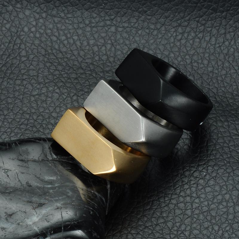 Черное Золото Серебра Цветого Байкер кольцо для женщин Панка геометрии Titanium из нержавеющей стали мужского ювелирных изделий кольца подарка способа США Размера 7.12