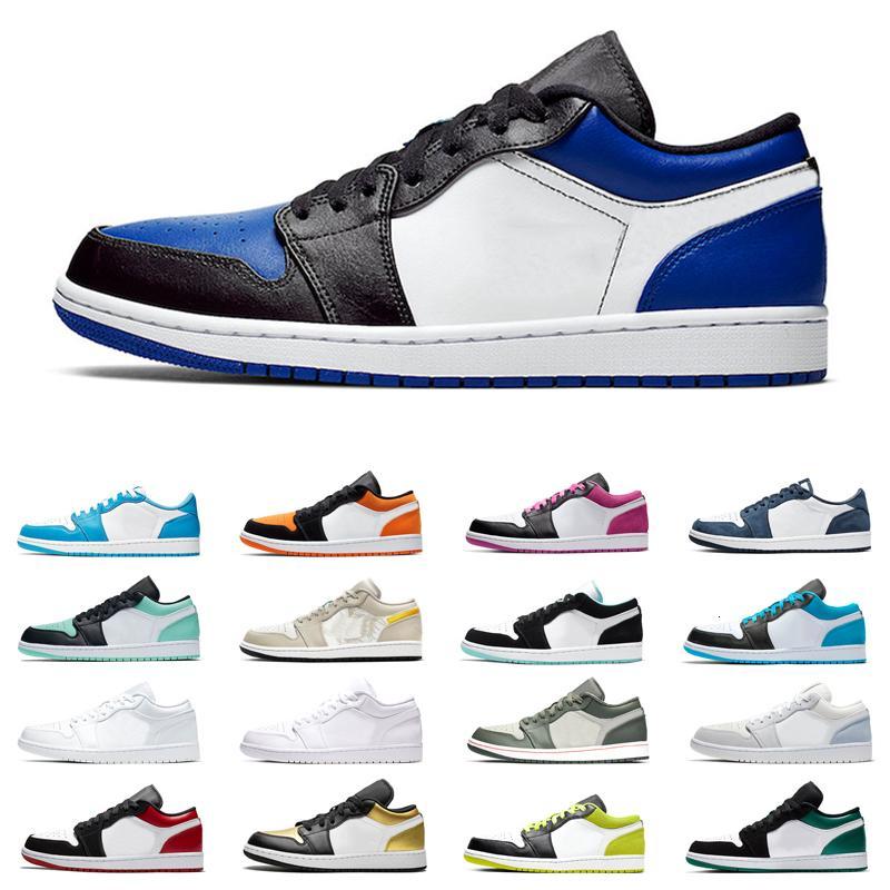 Низкие 1s 1 Мужчины Женщины Баскетбол обувь 2020 Laser синий оранжевый черный Cyber Полночь Navy Emerald Toe Рой NakeskinИорданияRetros Sneaker