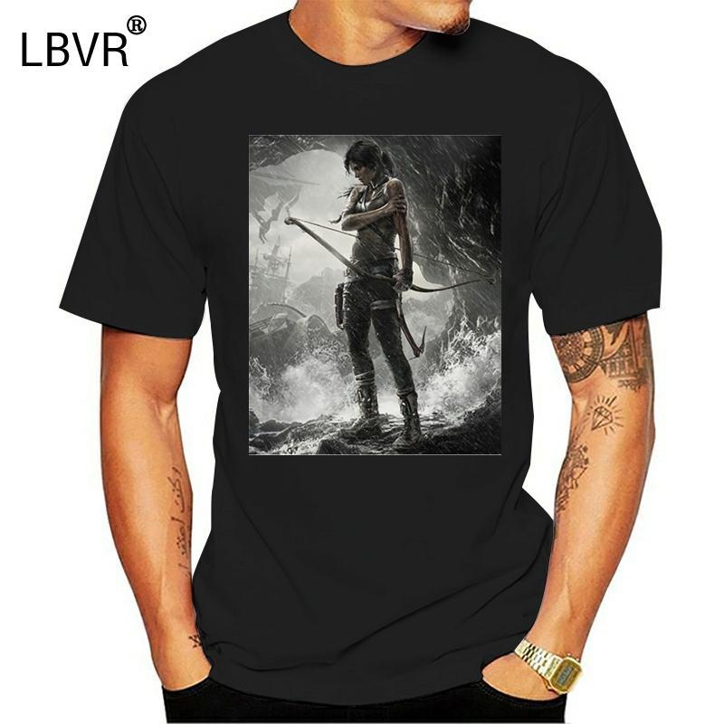 Printed Männer-T-Shirt aus Baumwolle T-Shirts O-Ansatz Kurz-Hülse Tomb Raider Lara Croft in der Höhle-Frauen-T-Shirt