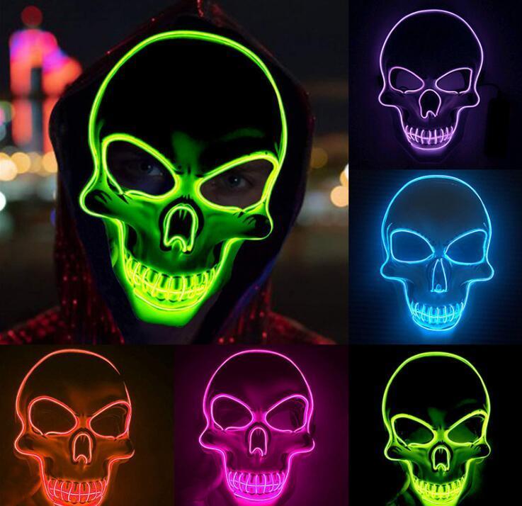 Halloween della mascherina di orrore LED d'ardore maschere Purge copertura Elezione Mascara costume del partito del DJ Light Up Maschere colori bagliore nel buio per la scelta di Bouti