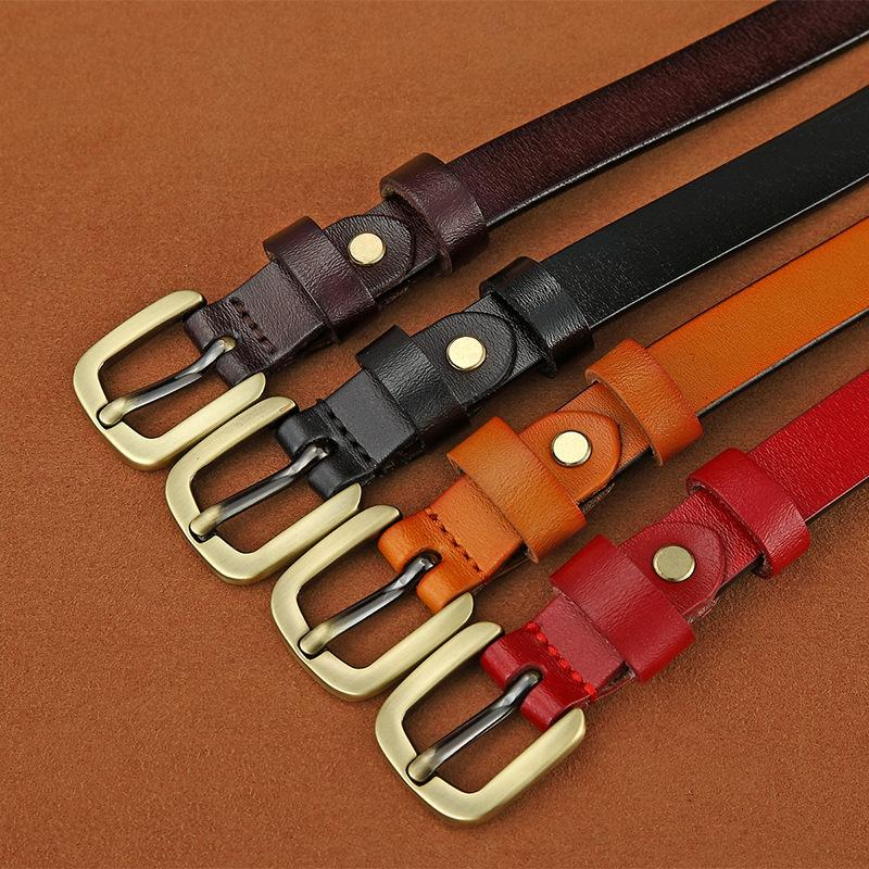 Cinturones de correa de la manera de cuero de vaca correa de las mujeres de la correa de la hebilla de la aguja 1.8cm ancho de Café Negro Marrón mayor de los zapatos correas 05