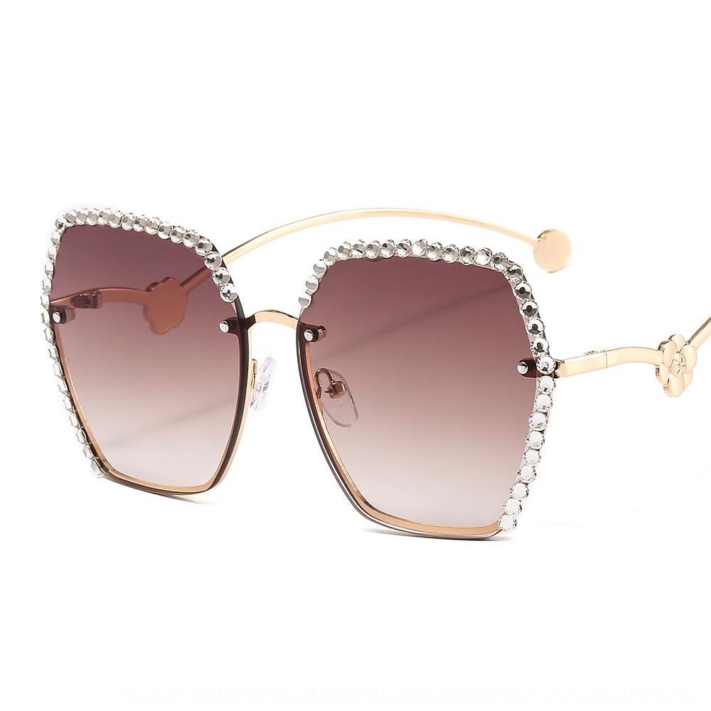 5qtzl New rahmenlos Trimmen Sonne Sonne Frauen in Mode Camellia mit Diamanten besetzte Sonnenbrille rahmenlosen Brille überdimensionaler