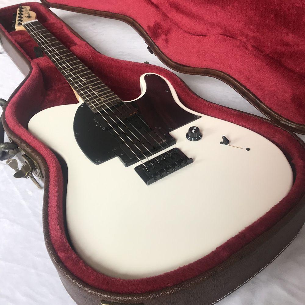 شحن مجاني / جيم الجذر التوقيع الجيتار / 6 سلسلة الغيتار الكهربائي / القيقب الأصابع / أبيض / تيلي غيتار كهربائي / مع hardcase