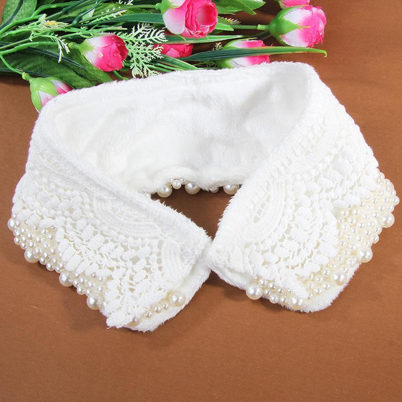 Zarif Kadın Kış Boyun Tie İnci Boncuk Dantel Çiçek Boyun çizgisi Sahte Yaka Yeni Pamuk Ayrılabilir Yanlış Yaka Çıkarılabilir Yaka Üst