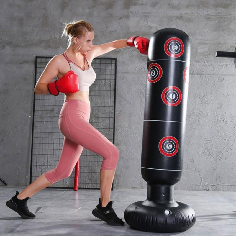Boxing Punching Bag Boxing Muay Thai Inflatable Tumbler Decompression Punching Sandbag for Kid Adult Force Core Training Tool