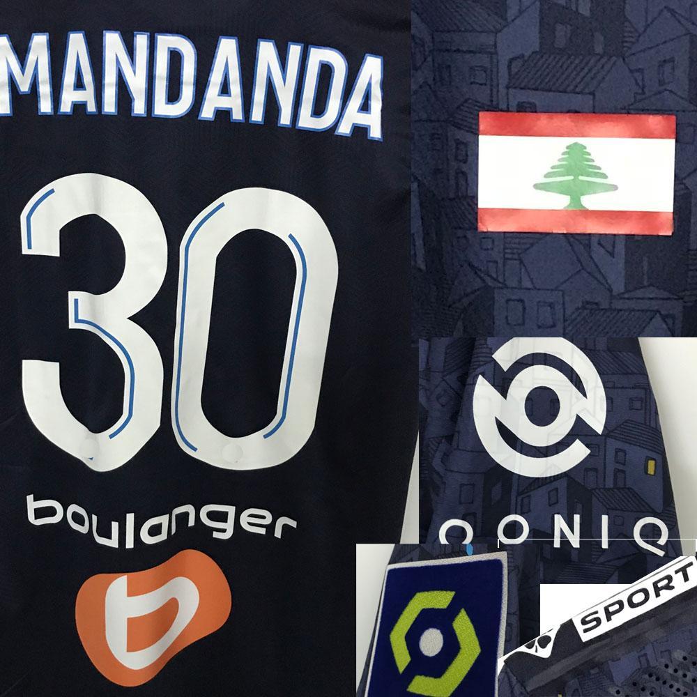 2020 OM Mandanda Maillot com a bandeira da Liban para homenagear Beirute Benedetto Thauvin Alvaro Rongier Jersey com a camisa completa do patrocinador