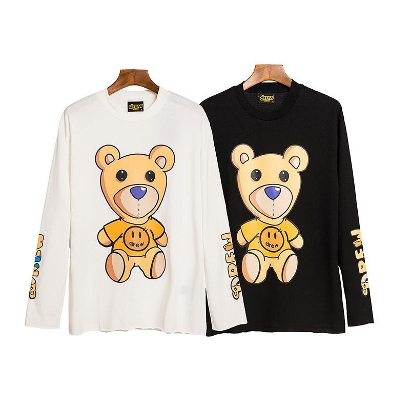 Biebochao DREW teddy bear smiley face pattern T-shirt spring and autumn thin long sleeve H4TL
