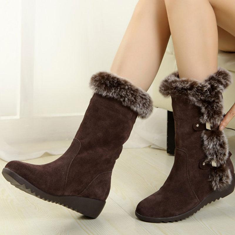 Casual Women Thigh High Boots Fur One Snow Boots Cuffed Belt Winter Thick Cuffed Belt Buckle Fur Collar Cotton Women Shoes