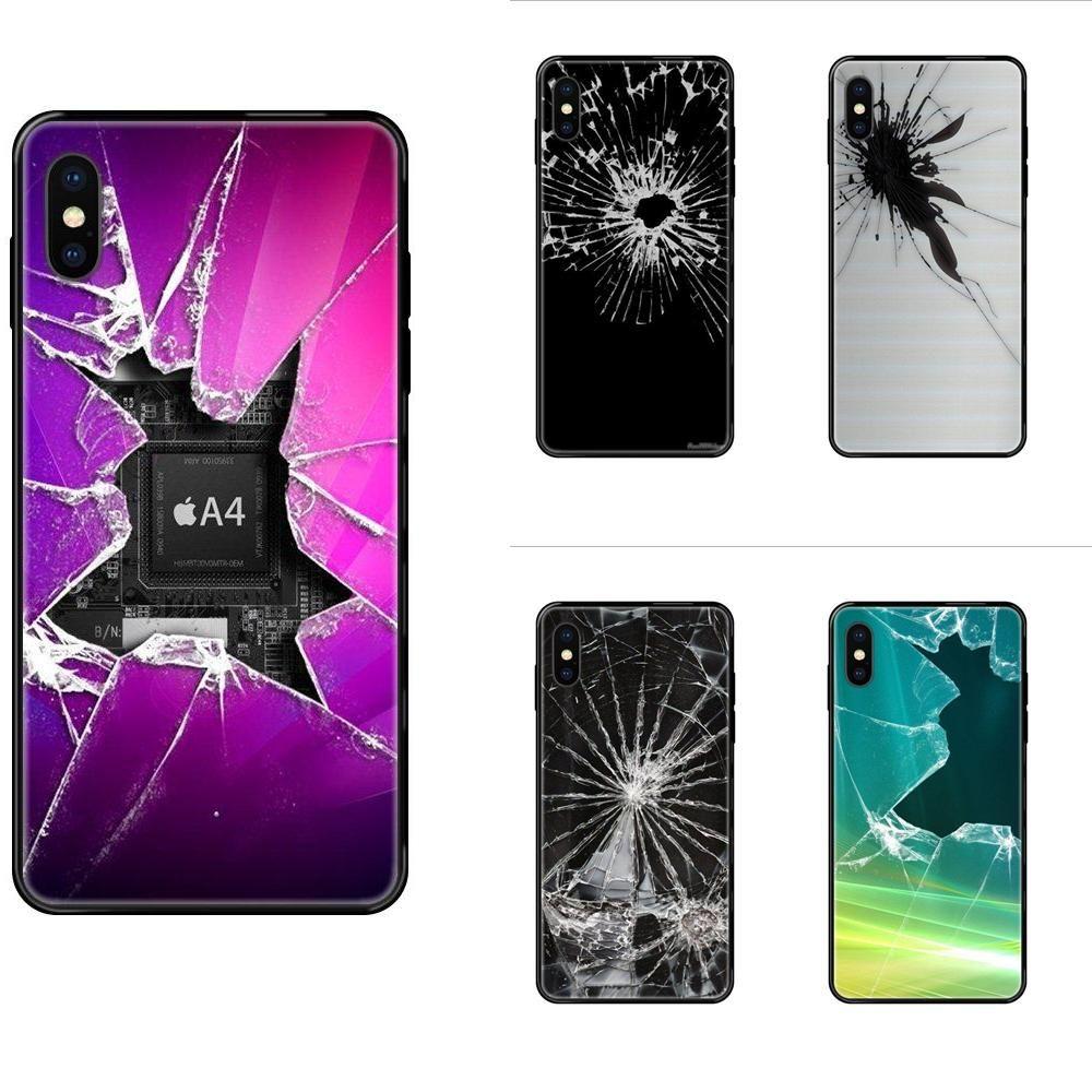 Top detallada Popular caso para el iPhone 5 11 12 Pro 5S SE 5C 6 6S 7 8 X 10 XR XS Plus Max pantalla rota