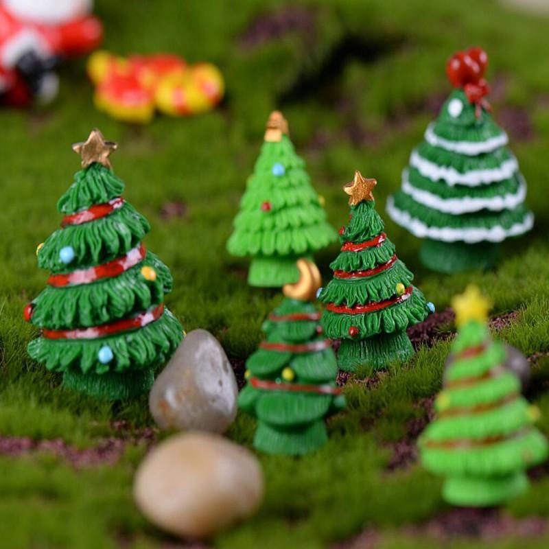 Decoración de Navidad en miniatura árbol de Navidad Figurita Mini Para el hogar de Kawaii de bricolaje Hada del jardín Adornos Arte de la resina