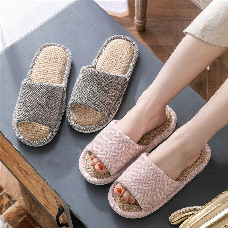 TZLDN Femmes Hommes d'été chaussons lin intérieur Accueil Tongs Sandales Toe ouvert dames plat Slides Casual Chaussures de plage Chaussures pas cher PwpQ #