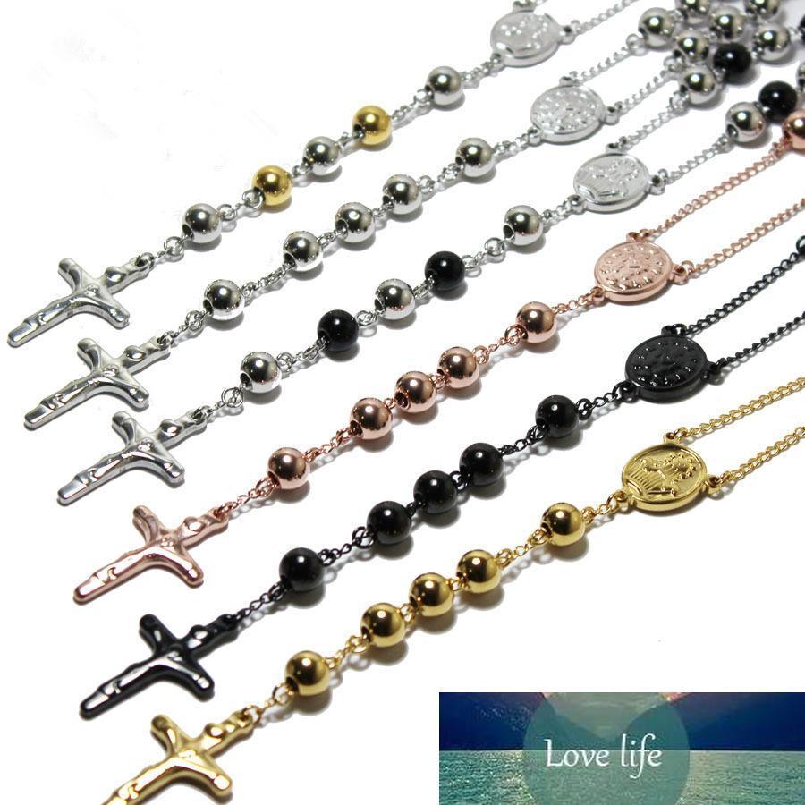 Erkekler Kadınlar İçin Sıcak Satış Tesbih İsa Haç kolye Kolye Paslanmaz Çelik Takı 3 Renkler Altın Rosed Gümüş 4 MM / 6MM / 8MM