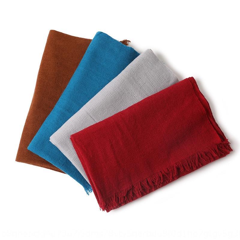 lcTA7 2020 Внутренняя Монголия осень и зима новых женщин сплошной цвет теплый шарф платок кашемир теплый шарф платок двойного назначения