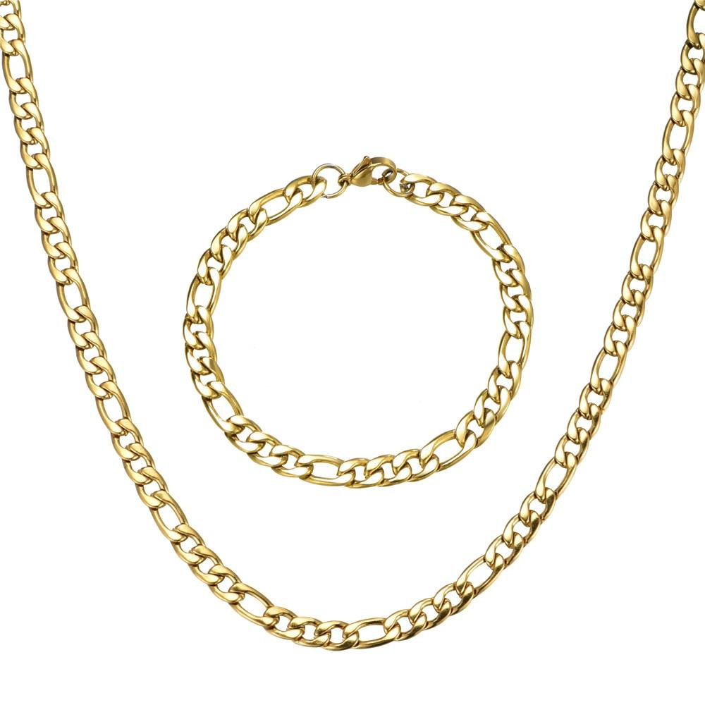 Gold Silver Color Figaro Chain Fashion Jewelry Sets Stainless Steel Bracelet Necklace Sets Men Gift Wholesale Jewelry