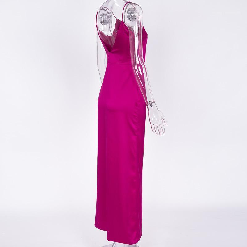 Taille haute Robe en satin bohémiennes Robe d'été Spaghetti Strap longue SCISSION Designer Robes V-cou