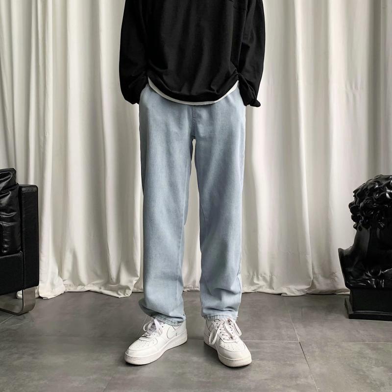 Jeans di marca marea versione coreana uomini del nove punti selvaggio allentato pantaloni dritti cadono sensazione estiva ampio gamba ins