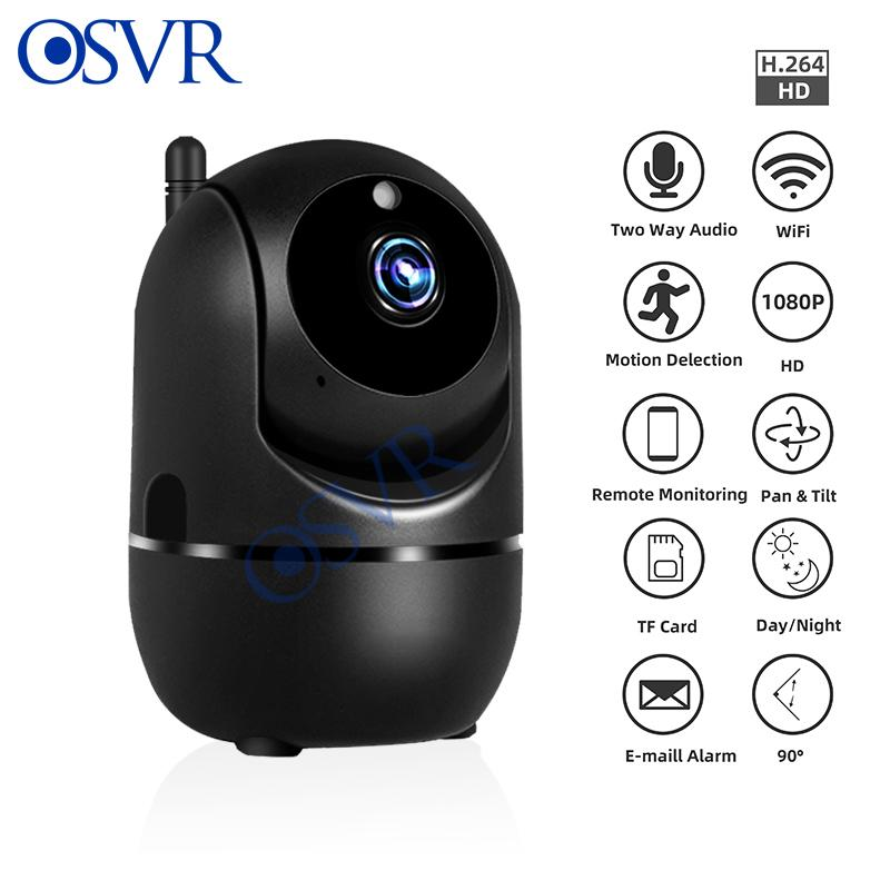IP Camera 1080P HD senza fili Wifi CCTV telecamera di sorveglianza video inseguimento auto di visione notturna di colore nero