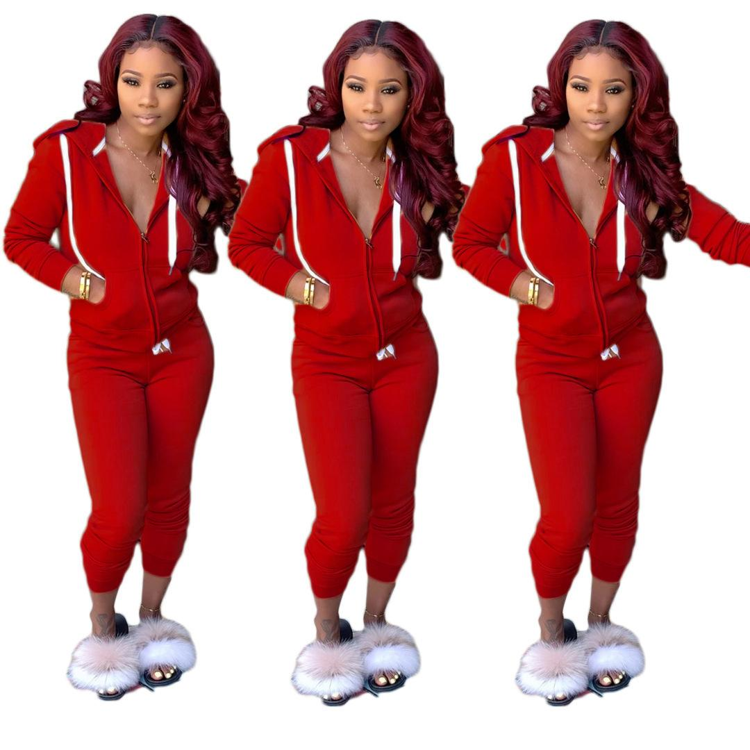 Women Tracksuit Two Piece Outfits Long Sleeve Hooded Zipper Cardigan pencli pants Set Ladies Sportswear Street Clothes Autumn