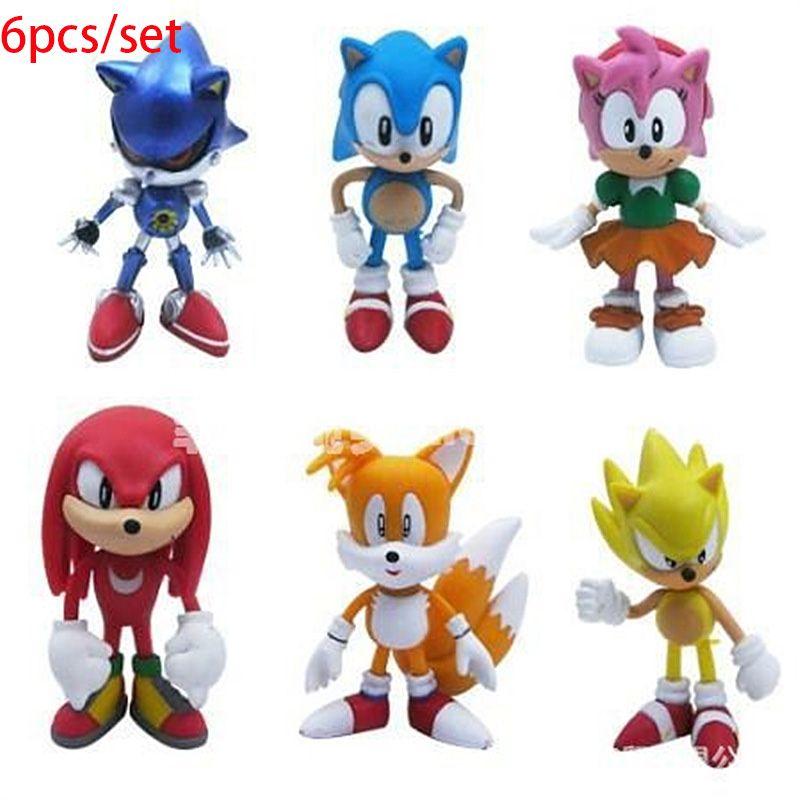 NOUVEAU 6pcs / set 5-7cm Sonic le hérisson Anime Characters Action Figures jouet figure jouets enfants de jouets mis en partie la livraison gratuite faveur