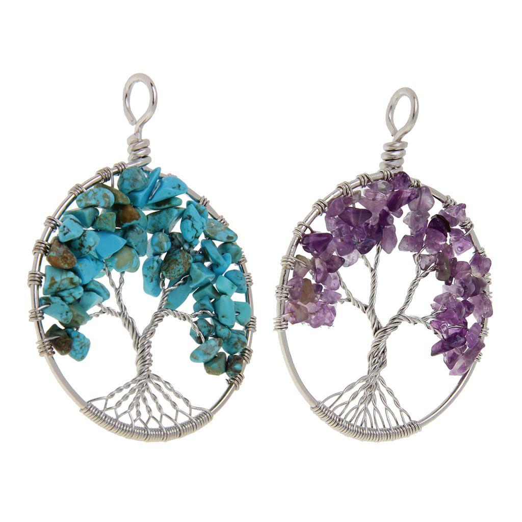 2pcs Rodada Tree Of Life ametista pingente de turquesa de cristal Gemstone