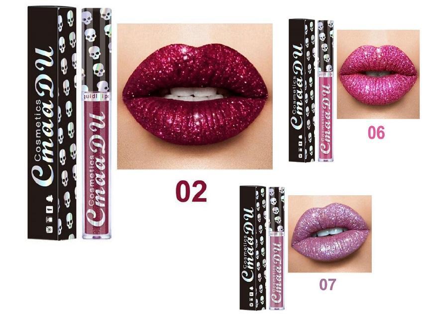2020good quality Cmaadu laser skull head diamond magic lip gloss metallic lipstick Metal Lipgloss Shinning Long Lasting Metallic Lipstick 8
