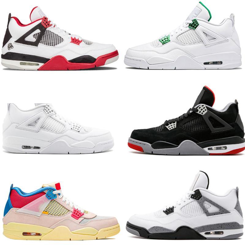 Nike air jordan 4 air retro jumpman Tênis de basquete masculino da união de vela 4 homens Deep Neon Metallic Pack cacto real Jack cimento branco tênis 4s masculino tênis esportivo