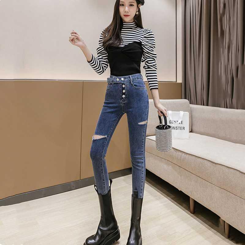 Automne et hiver pantalon sexy haute pompon taille déchiré pantalon denim jeans crayon femmes femmes serrées jeans bleu noir