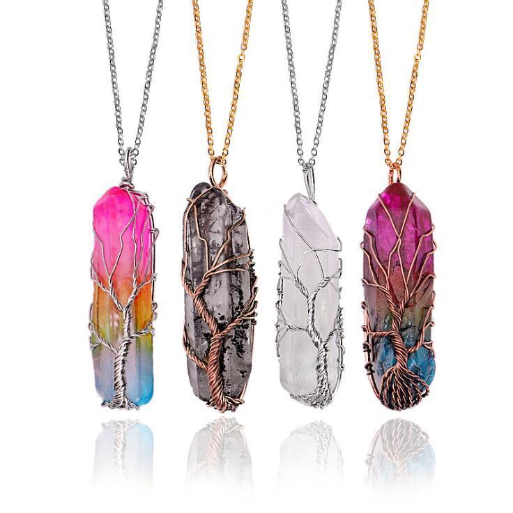 Collier naturel collier en cristal de quartz guérison Chakra point Perle pierres précieuses collier pendentif style en pierre Pendentif Colliers DHB1335