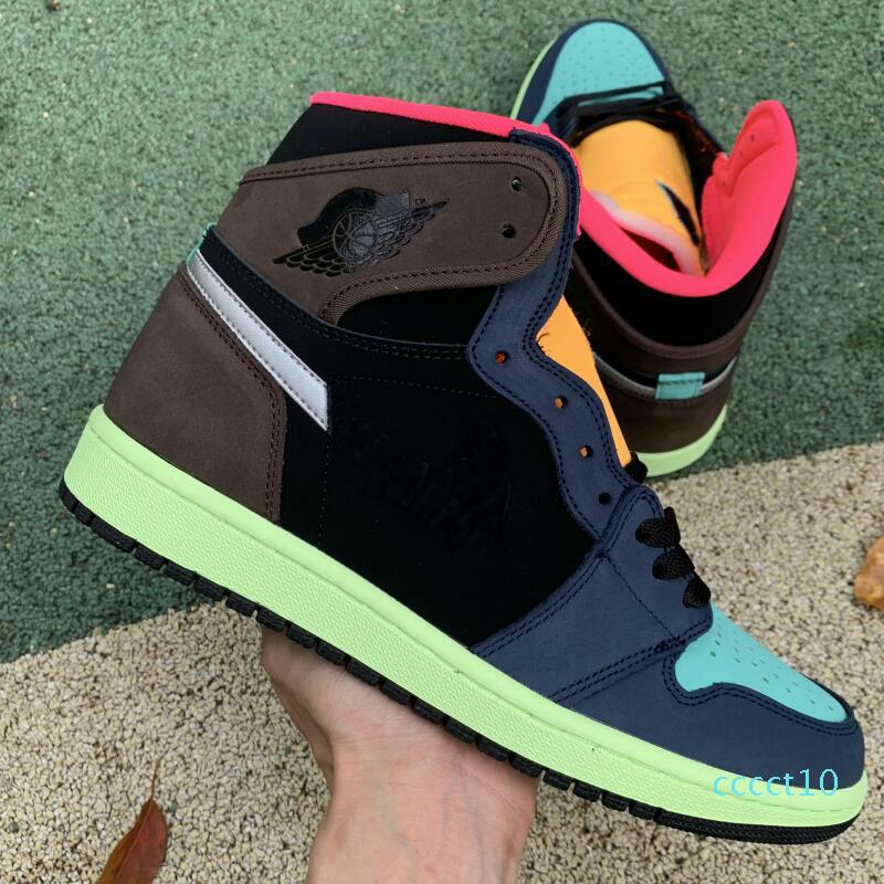 Alto OG 1 Bio Hack 2020 nuevos zapatos barroco Brown Negro-Naranja-Laser Racer rosa de baloncesto del Mens versión 1s Hombres Deportes Sneakersct10