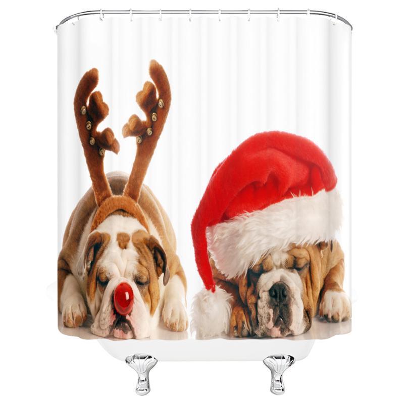 """Douche Rideaux Dog Christmas Rideau Tissu Tissu Rideau Tissu Rideau de 72 """"x 72"""" W / 12 Crochet Livraison Gratuite"""