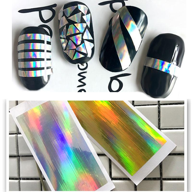 Laser Starry Nail fogli olografici Oro Argento Nail Sticker Paper decalcomanie Manicure decorazioni di arte