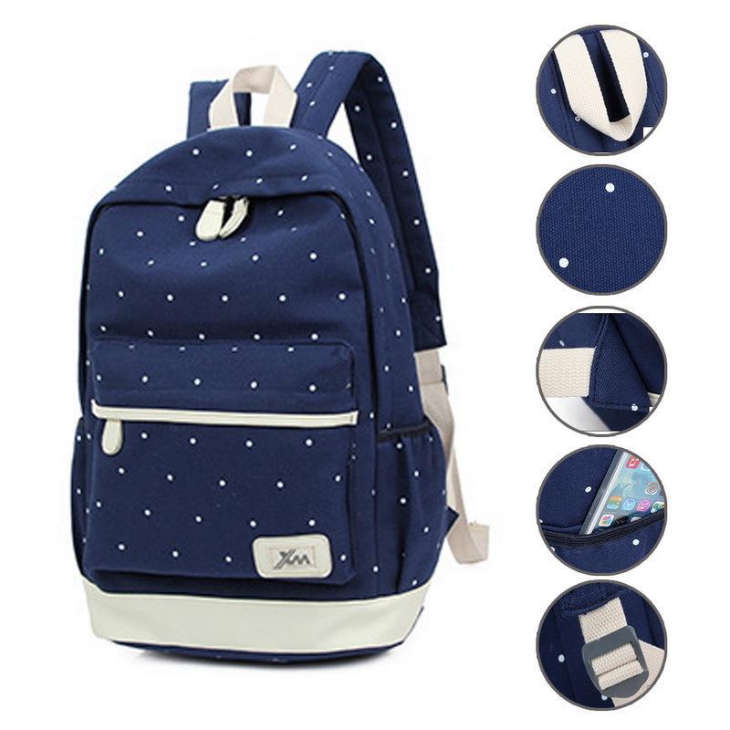 3pcs / set impresión de punto lienzo mochila escolar posterior Mujer Bolsas para el recorrido adolescente mochilas Mujer morral