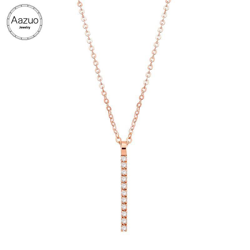 Zincir kolye ile Aazuo Gerçek elmas% 100 18K Rose Gold Moda Hattı Sarkık Kadınlar Düğün Au750 için yetenekli