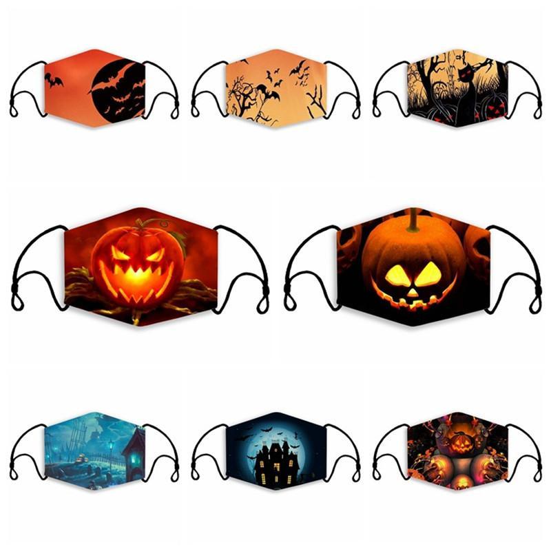 DHL Verschiffen-Kind-Halloween-Mund-Abdeckung Kürbis Druckmaske Waschbar Wiederverwendbare Adult Protective Masken Radfahren Breathable Anti Staubmaske H36A