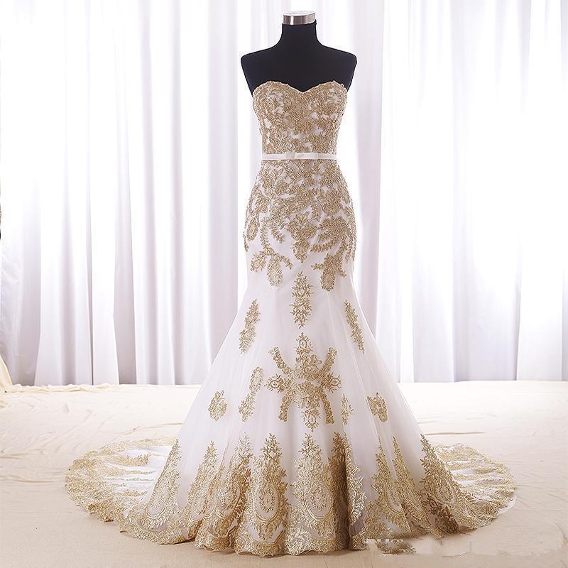 Mermaid branco e vestido de casamento de ouro barato Real Fotos Namorada Trem da capela Applique Lace vestido de noiva Para Mulheres Meninas Novo