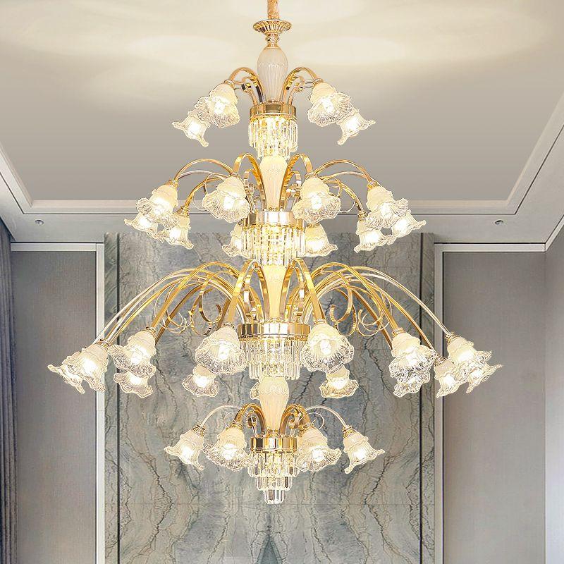 Appartement long escalier Lustre Lighitng moderne Or Lustre en cristal Atmosphere Duplex Bâtiment Villa Grand hall de cristal Lampe suspendue
